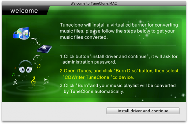 Welcome window of TuneClone Mac